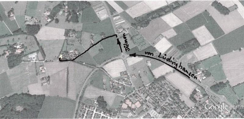 Am Kreisverkehr Richtung Dülen, dann links.